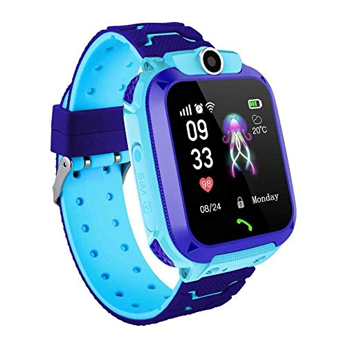 Kids Smart Watch Phone, GPS + WIFI Dual Positioning System Smart Orologio da Polso Per 3-12 Anni Ragazze Ragazzi a due vie Chiamata SOS Guida Smart Watch Per Bambini Con Camera Holiday Gift,Blue