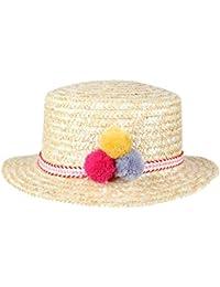 Dantiya-Femmes Chapeau de soleil chapeau canotier paille avec décoration