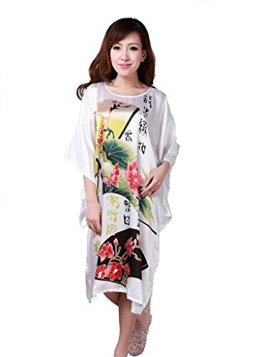 JTC Femmes Kimono Peignoir Pyjama Robe/Vêtement de Nuit/de Chambre Grande Fleur-Soie-4 Styles(Lotus-Blanc) JTC