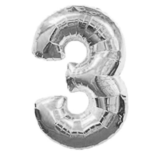 Zoll Nummer 0-9 Folie Geburtstagsparty Hochzeit Jubiläum Digital Balloon, Party Ballon, bunten Ballon, Halloween bunten Ballon, Weihnachten, Geburtstagsparty, Party, Hochzeit (C, Silber) ()