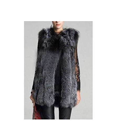 Huaishu Femmes Fourrure Long Manteau Solide Mode Mince Simple Fausse Fourrure Veste Survêtement Hiver Gilet Pardessus Automne