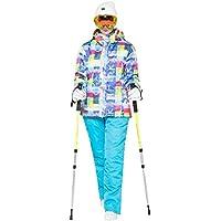 GWELL Damen Skianzug Schneeanzug / Skijacke mit Kapuze + Skihose mit Träger