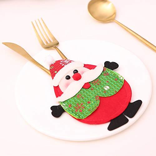 WFRAU Weihnachten Tischdeko 2 Stück Weihnachtsmann/Schneemann/Elch Form Weihnachten Besteckhalter Besteck Kostüm Weihnachten Dekoration Weihnachtsgeschirr Tischaufteilung Zubehör