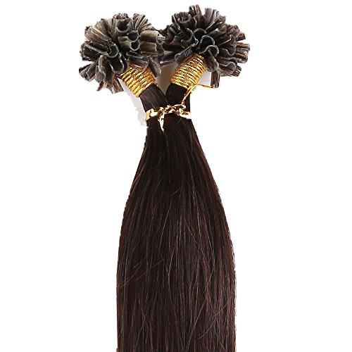 200 ciocche 45cm hair extension capelli veri indiani u-tip cheratina 100% remy human hair allungamento, 02# marrone scuro