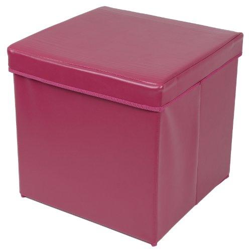 Folding Storage Stool With Lid Plum Faux Leather 38cm Cube Pouffe Seat  Ottoman