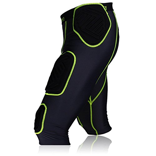 Full Force American Football Unterhose Shocc Lite 7 Pocket Pad, schwarz/neon grün, Gr. M