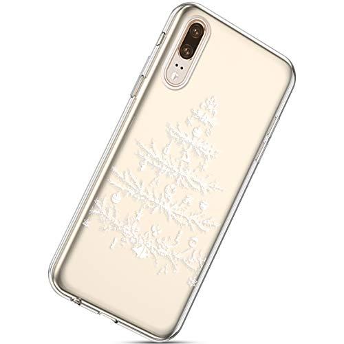 Kompatibel mit Handytasche Huawei P20 Weihnachten Hülle Clear Case Ultra Dünn Durchsichtige Silikon Kirstall Transparent Handy Hülle Bumper Cover Schutz Tasche Schale,Weihnachten Baum