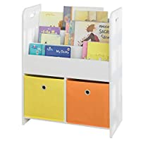 SoBuy® KMB27-W, Children Kids Bookcase Book Shelf Storage Display Rack Organizer Holder with Fabric Drawers