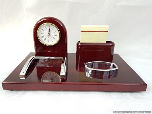 discountseller Executive Büro Tisch Stationäre Halter Holz mit eleganten Römisches Zifferblatt Uhr, Notizen & Karte Halter (Leichtes Rock Auf Ziehen)