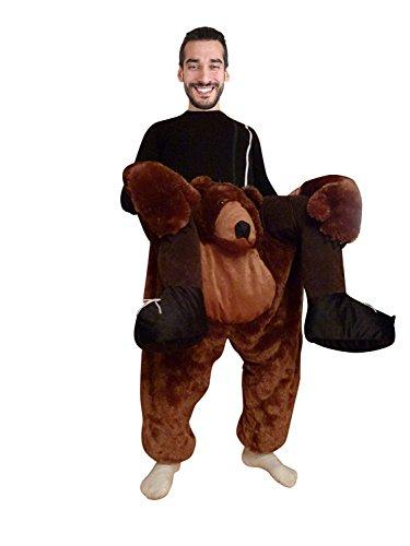 Seruna Carry-me Braunbär-Kostüm, F100/00 Gr. M-L, Bären-Faschingskostüm, für Fasching Karneval, Karnevals-Kostüme Männer Frau-en Faschings- Fasnachts- Tier-e Geburtstags- Geschenk-e - Frau Trägt Mann Kostüm
