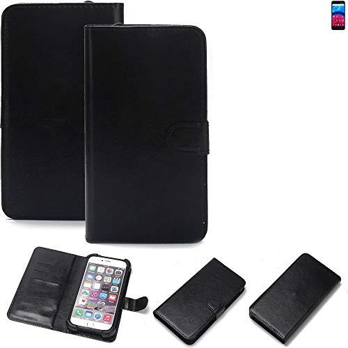 K-S-Trade Wallet Case Handyhülle für Archos Core 60S Schutz Hülle Smartphone Flip Cover Flipstyle Tasche Schutzhülle Flipcover Slim Bumper schwarz, 1x