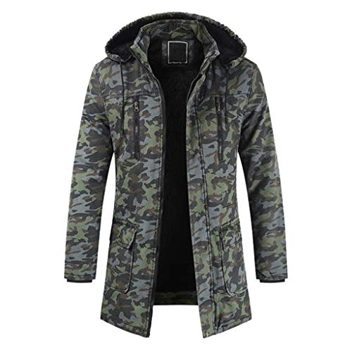 LIMITA Herren Winterjacke Warmer Trainingsanzug mit Reißverschluss Daunenjacke mit Kapuze Lässige Camouflage Langarm Outwear Mantel Herren Basic Bomber Jacket Jacke
