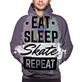 btyi7yos Soft Funny 3D Printing Hoodie Quote typographical Background Eat Sleep Skate Repeat Skateboard Minimalistic Style Grunge Vintage Fonts Template