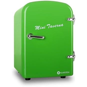 Klarstein Mini Taverna Mini frigo (glacière électrique design, chaud/froid pour canettes et petites bouteilles, 4L, secteur ou allume-cigare 12V, étagère et porte-tablette amovible) - vert