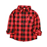 Kariertes Hemd Kinder feiXIANG Jungen Mädchen gedruckt Tops Bluse t Plaid Kleidung Langarm T-Shi (rot,130)