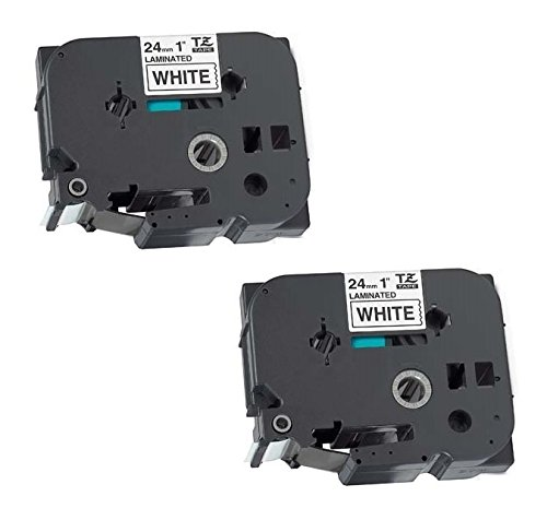 2 x Compatible TZ-251/TZe-251 Black on White Label Tapes (24mm x 8m) for Brother P-Touch Label Printing Machines