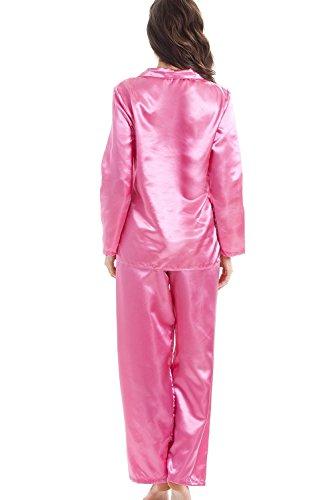 Pyjama aus Satin - Lange Ärmel & Hose - Satin - Pink Pink