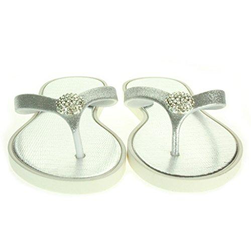 Frau Damen Crystal Detailliert Zehenpfosten Jeden Tag Leichte Casual Komfort Slip On Flache Sandalen Schuhe Größe Silber