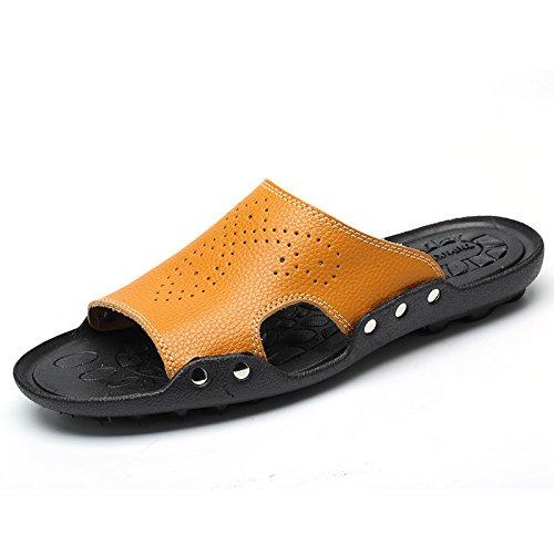 Xing Lin Sandales Pour Hommes Chaussons DÉté Blanc MenS MenS Beach Mot Chaussures Chaussons Chaussures Relaxes Pour Hommes Les Hommes De LÉté Cool Pantoufles Light Brown