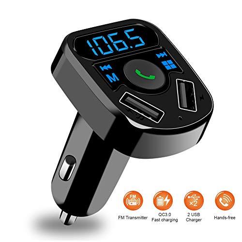 SOOTEWAY Trasmettitore Bluetooth per Auto, Trasmettitore FM Bluetooth per Radio Auto, Adattatori Chiamate Vivavoce Car Kit, Caricabatterie Auto con 2 Porte USB/Supporta SD Card/U Disk (Nero)