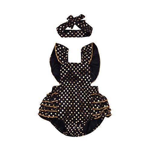 squarex Neugeborenen Kinder Baby Mädchen Kleidung Tupfenoverall Rüschen Strampler + Stirnband Sommer Niedlich Overall (Kind Schwarz Haut Anzug)