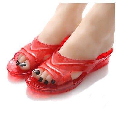 zhENfu donna pantofole & amp; flip-flops Estate Slingback Casual in gomma tacco piatto blu rosso Ruby