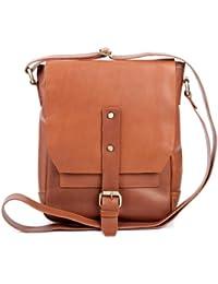 FEYNSINN sac de messager JACKSON - petit - sac à bandoulière approprié pour tablet - iPad - besace messenger châtain clair en cuir véritable