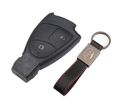 Cover Guscio Scocca Chiave Telecomando 2 Tasti per Mercedes Benz Classe B C e CLK SLK (senza logo) con Portachiavi in Pelle KASER