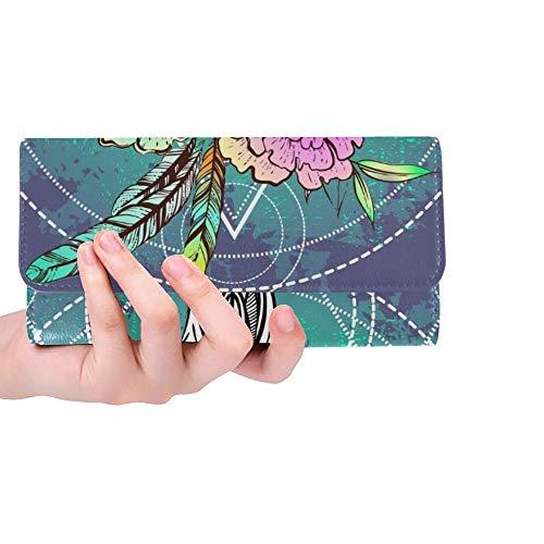 Einzigartige benutzerdefinierte Boho Chic ethnischen indianischen Bull Frauen Trifold Wallet Lange Geldbörse Kreditkarteninhaber Fall Handtasche