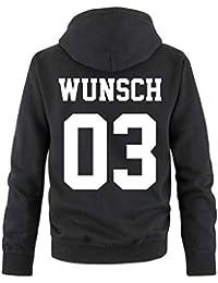 Comedy Shirts Partnerlook mit Wunschname & Wunschnummer INDIVIDUALISIERBAR – Hoodie, Sweatshirt & Sweat Jacke für Pärchen, Familie & Freunde - Schwarz, Grau, Blau, Rot o. Weiß, XS-5XL