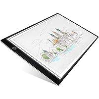 UKON A4 LED Tavoletta Luminosa per Disegno,Ultra-Sottile Light Board Tavolette Disegno Tracing Pad per Artista,Cavo di Alimentazione USB Dimmable Light Box per Drawing Sketching