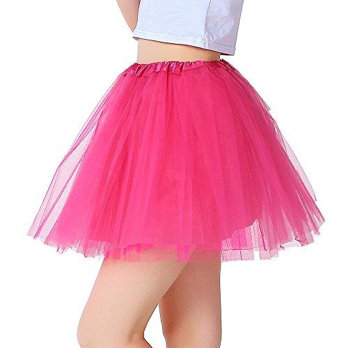 iLoveCos 80er Jahre Neon Tütü/Tutu / Tüllrock/Unterrock Petticoat Rüschen Geschichteten Pink Regenbogen Rot Rock Kleid Kostüm 1980er Jahre Neon Fancy Dress Outfit Zubehör für Kinder (pink)