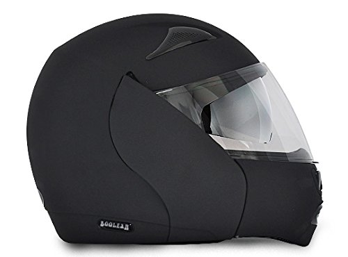 Vega Boolean BLN-DK-M Flip-up Helmet with Double Visor (Dull Black, M)