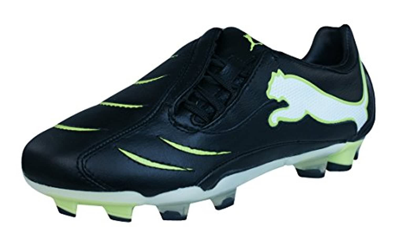 Puma PowerCat 2.10 FG Boys Leather Football Boots / Cleats-Black-1