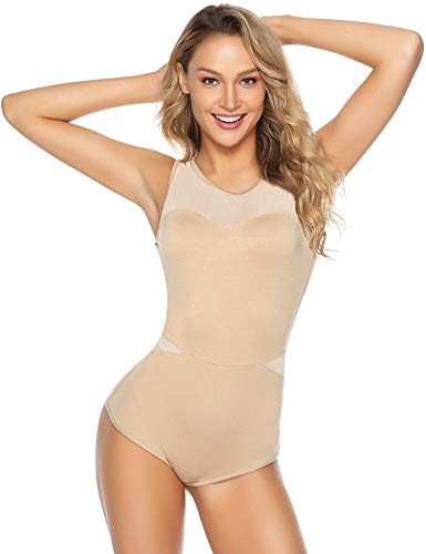 Abollria Damen Bodysuit Weich Stretch Ärmellos Body mit Transparente Teile Luftig Rundhals Shirtbody Top für Sommer,Hautfarben,S -