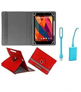 Gadget Decor (TM) PU Leather Rotating 360° Flip Case Cover With Stand For Iball 3G Cuddle A4 + Free USB Led Light - Red