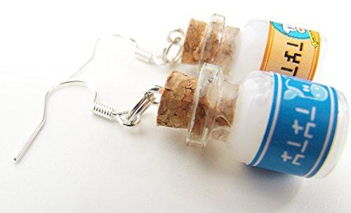 Preisvergleich Produktbild Malon Cosplay Ohrringe Lon Lon Milch-Flasche Blau & Gelb