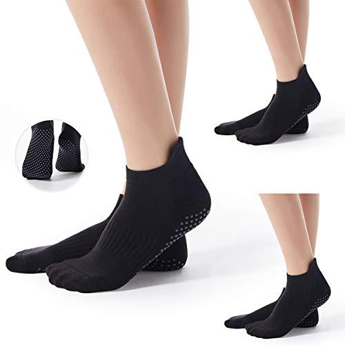 Torotto Yoga-Socken für Herren Pilates Barre Fitness Tanz rutschfeste Socken Barfuß-Workout(3 Paare(Schwarz))