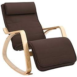 SONGMICS Rocking Chair Fauteuil Bascule avec Repose-Pieds réglable à 5 Niveaux Design Charge Maximum 150 kg, Marron LYY10ZV1