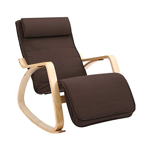 SONGMICS Silla Mecedora, Sillón Tumbona, Reposapiés Ajustable, Ideal para Sala de Estar,...