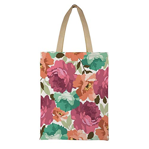 DKISEE Seamless Floral Pattern With Roses Reusable Canvas Tote Handbag Eco-Friendly Printed Tote Bag Large Casual Shoulder Bag Shopping Bag