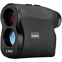 SUAOKI Golf Range Finder 656 Yards /600 Meters Waterproof IP54 with Flag-Lock, Distance, Fog, Speed and Continuous Measurement, Battery, Lanyard, Wiping Cloth and Carry Pouch Included