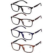 bec8c00d63 Pack de 4 Gafas de Lectura Vista Cansada Presbicia, Gafas de Hombre y Mujer  Unisex