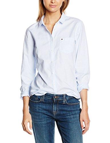Tommy Hilfiger - Camicia - elastico in vita - Maniche lunghe  - 1 -  donna, SHIRT BLUE/ CLASSIC WHITE STRIPE (Blau (SHIRT BLUE/CLASSIC WHITE STRIPE 901)), 44 (Taglia produttore: 14)