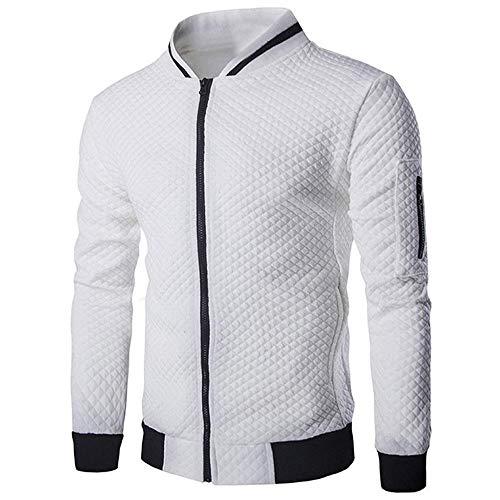 Sweatshirt Herren Slim Fit Hoodie Sweatjacke Kapuzenpullover Sweatshirt (Weiß,M)