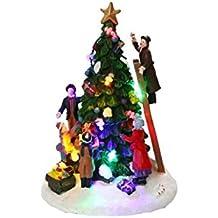HOME VILLAGE 5MAI517MC Sapin Lumineux avec 8 Ampoules LED à piles Résine/Poly résine Multicolore