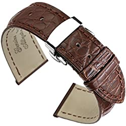 18mm Brown Watch Straps/Bands Replacement Luxury Alligator Skin Leather Handmade with Deployment Clasp