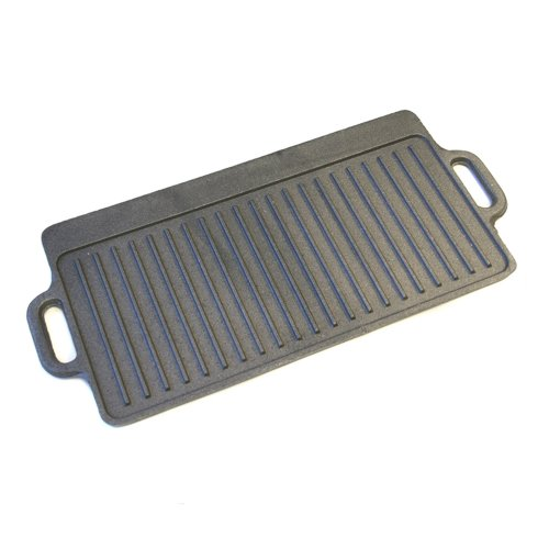 "KitchenCraft Induction-Safe Cast Iron Griddle Plate with Handles, 45 x 23 cm (17.5"" x 9"")"