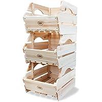 HABAU - Cajas de almacenaje para apilar (madera, 3 unidades)