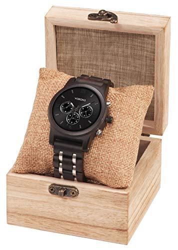 VOEONS Herren Uhr, Herren-Armbanduhr Chronograph Holzuhr mit Gliederarmband Schwarz 6010 - 5